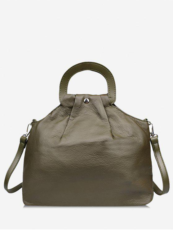 trendy PU Leather All Purpose Tote Bag - MEDIUM FOREST GREEN