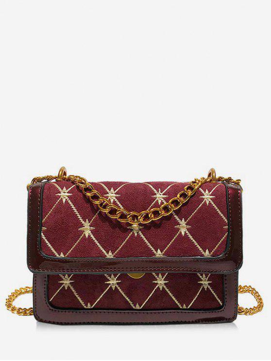 fancy Geometric Pattern Chain Crossbody Bag - RED WINE