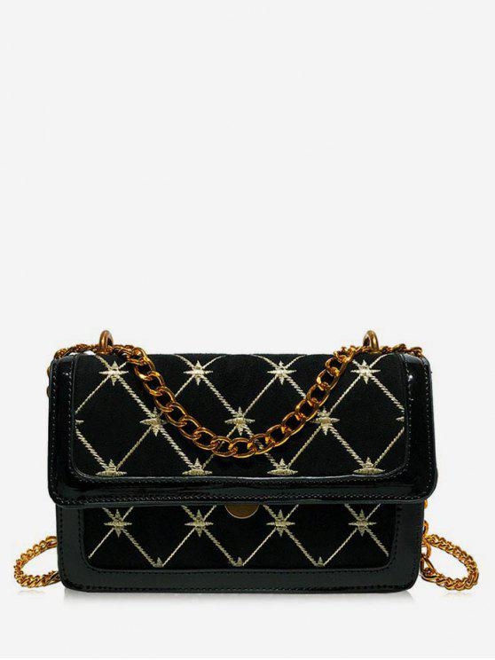 buy Geometric Pattern Chain Crossbody Bag - BLACK