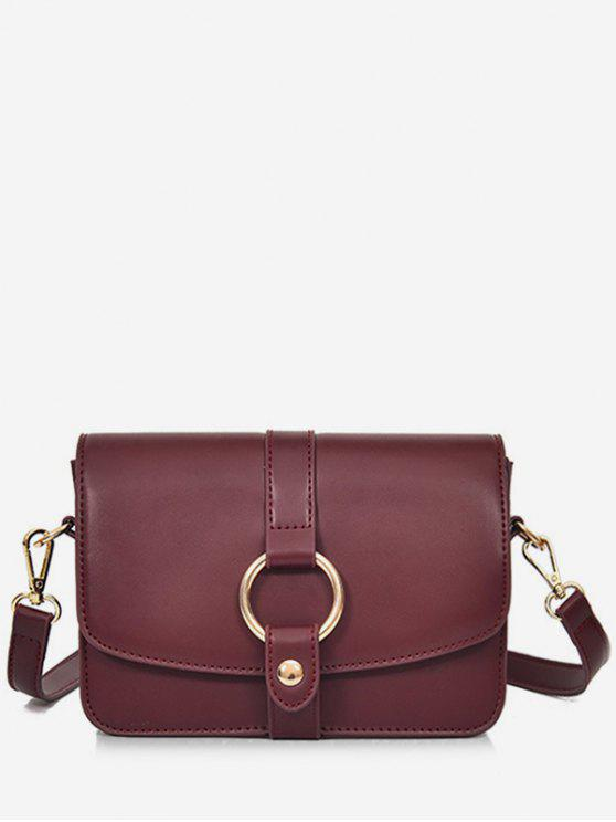 women Round Hole Embellished Mini Crossbody Bag - RED WINE
