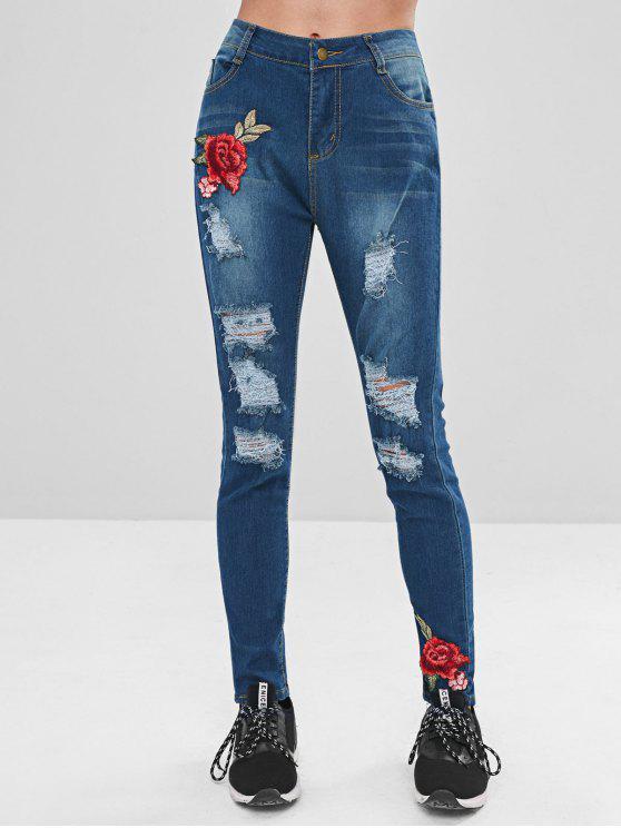 Bordados de flores zip fly jeans rasgados - Azul Escuro XL