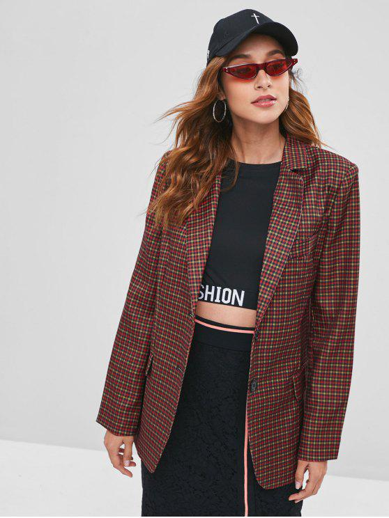 womens Checked Two Button Padded Shoulder Blazer - MULTI M