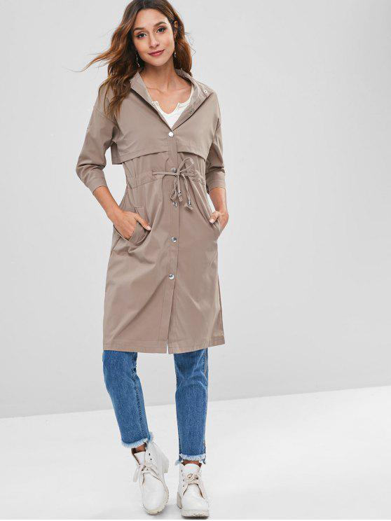 ladies Tab Sleeve Lightweight Button Through Trench Coat - CAMEL BROWN XL