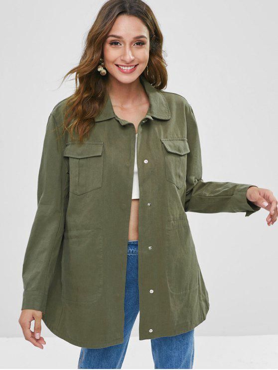 unique Snap Button Pocket Longline Coat - FERN GREEN L