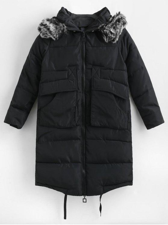 Cappotto Invernale Trapuntato In Pelliccia Sintetica Con Cappuccio - Nero XS