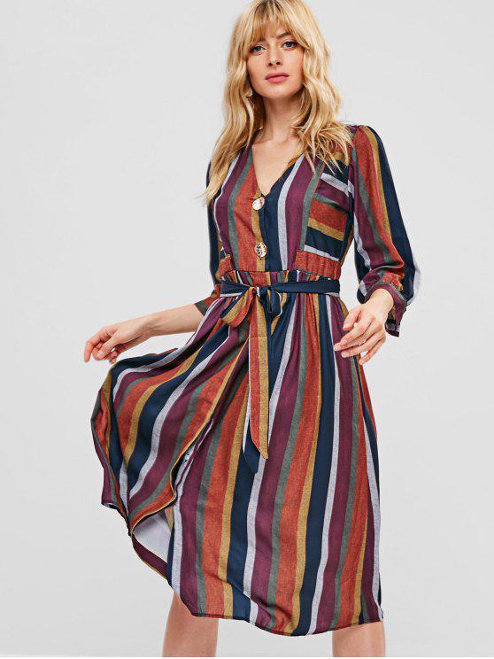 trendy Colorful Stripe Button Through Midi Dress - MULTI M