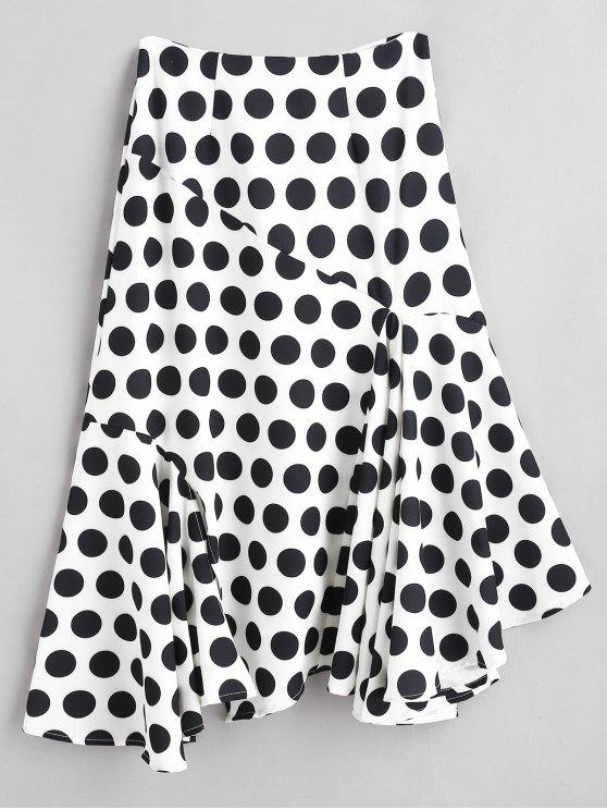 sale Asymmetric Polka Dot Skirt with Flounce - WHITE L