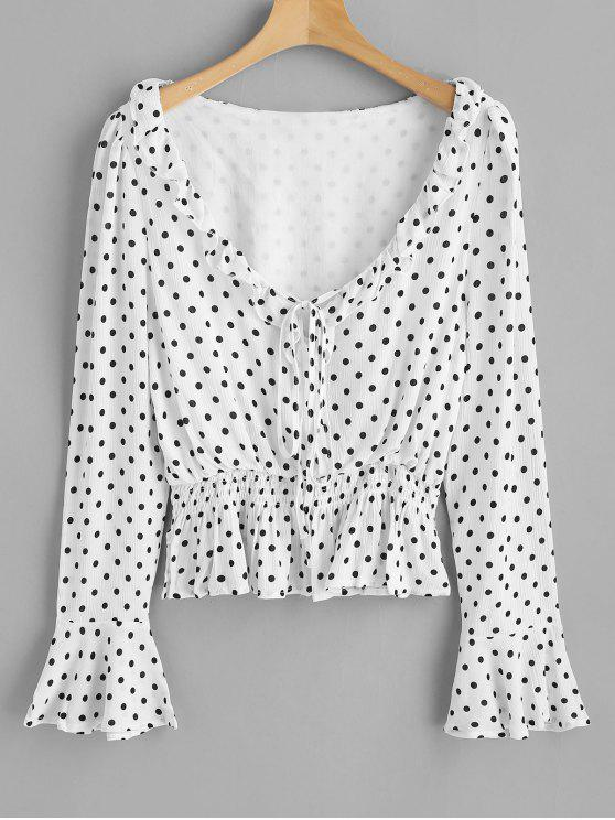 womens Flounce Polka Dot Scoop Neck Top - WHITE L