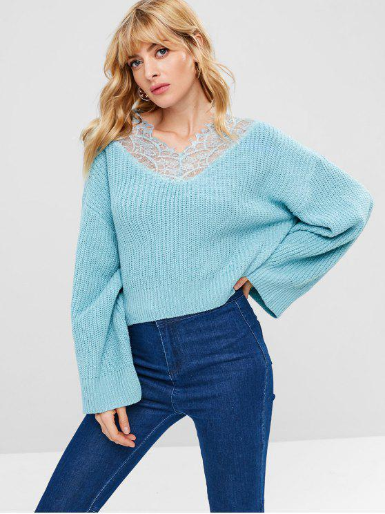 women's Lace Insert Drop Shoulder Chunky Sweater - LIGHT BLUE M