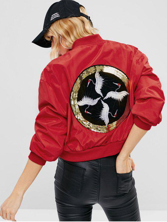 shops Embroidered Sequined Souvenir Bomber Jacket - RED L