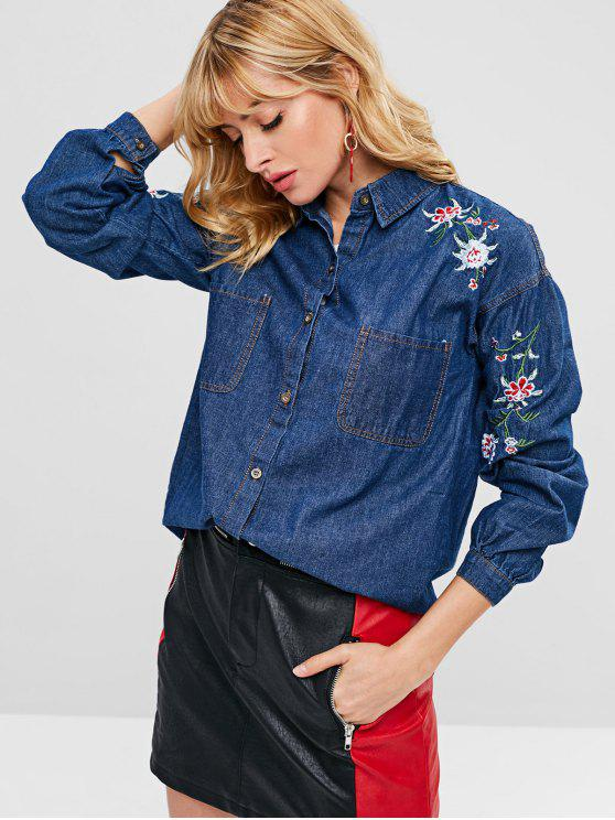 trendy Flower Embroidered Pocket Chambray Jacket - COBALT BLUE S