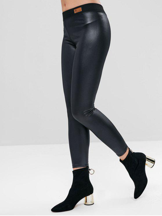 b1a612187eaaa 31% OFF] 2019 Faux Leather Leggings In BLACK | ZAFUL