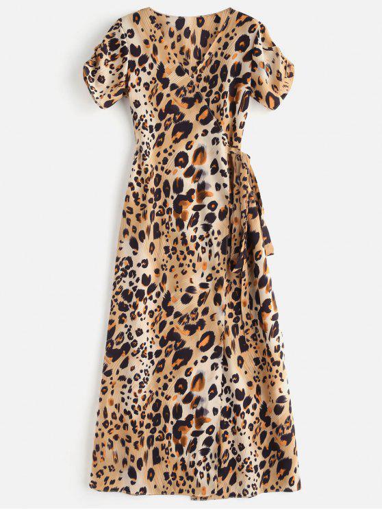 Abito Plus Size Casuale Avvolgente Con Stampa Leopardata - Leopardo S