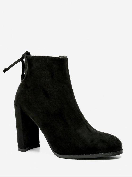 buy Chunky Heel Tie Back Suede Short Boots - BLACK EU 39
