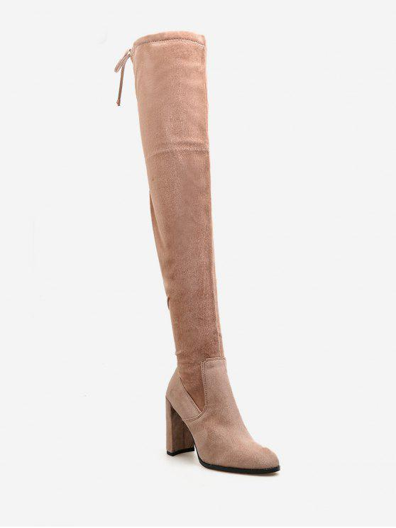Drawstring de salto alto sobre as botas de joelho - Rosa Laranja UE 38