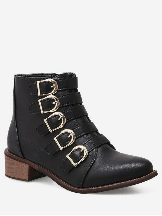 fancy Chunky Heel Buckle Strap Ankle Boots - BLACK EU 39