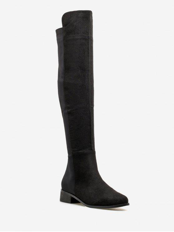 online Low Heel Suede Thigh High Boots - BLACK EU 39