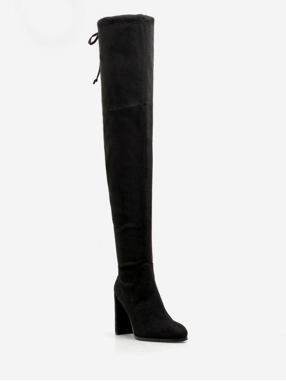 ladies High Heel Drawstring Over the Knee Boots - BLACK EU 38
