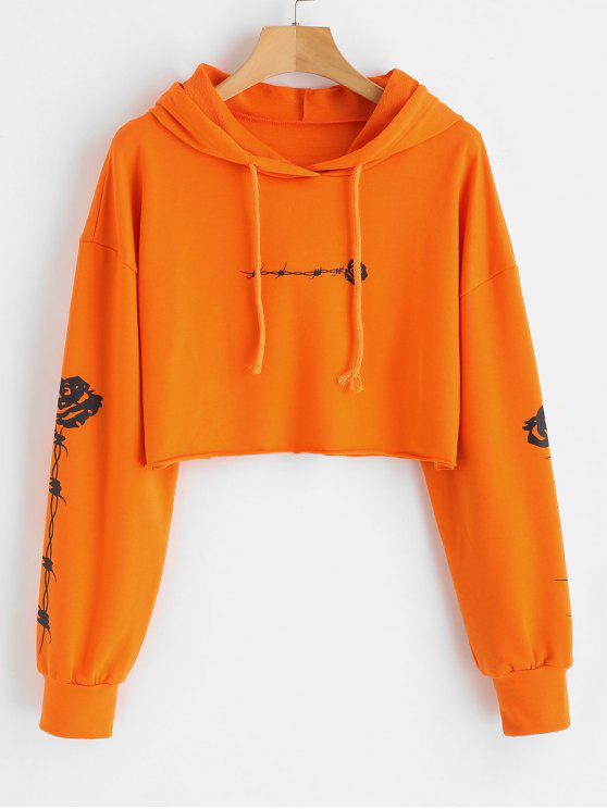 hot Rose Print Crop Raw Hem Hoodie - ORANGE L