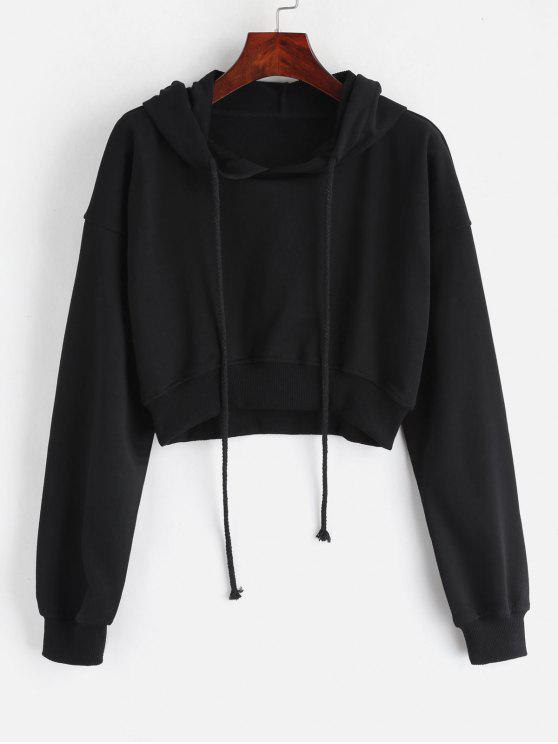 trendy Loopback Cropped Pullover Hoodie - BLACK L