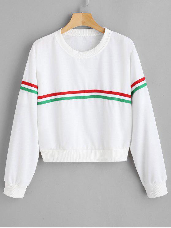 online Pullover Sweatshirt with Drop Shoulder - WHITE M