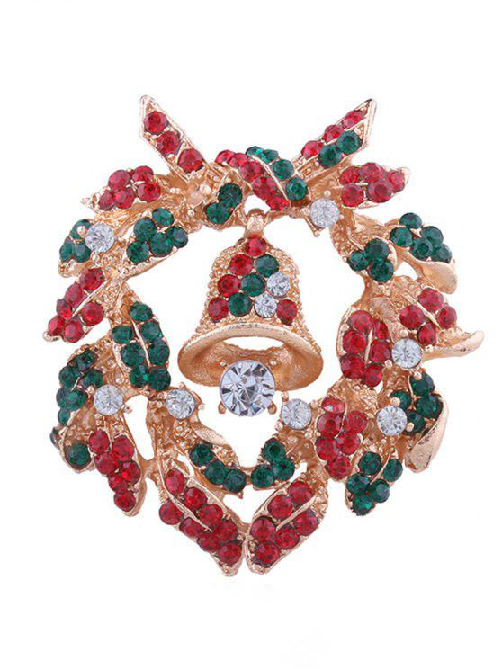 outfits Christmas Bell Rhinestone Inlaid Brooch - MULTI