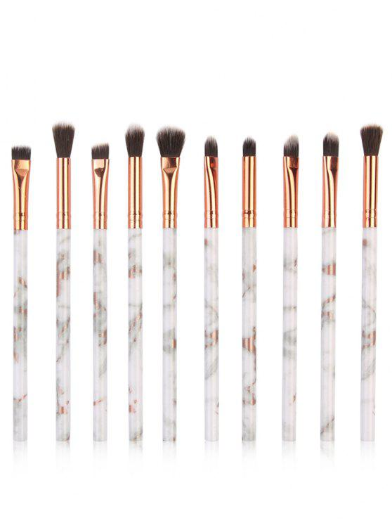 shops 10Pcs Marbles Handles Eyeshadow Blending Eye Makeup Brush Set - PLATINUM