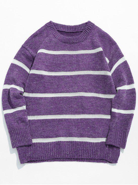 Lässiger gestreifter Pullover Strickpullover - Lila Blume XL