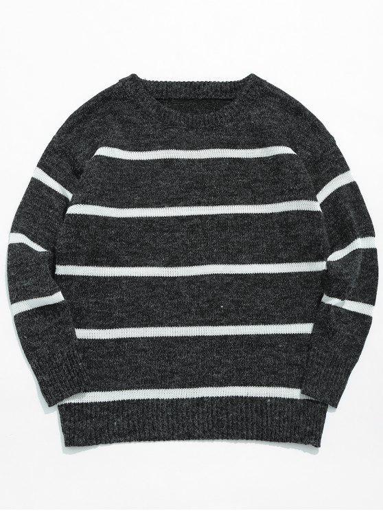 Lässiger gestreifter Pullover Strickpullover - Schwarz XL