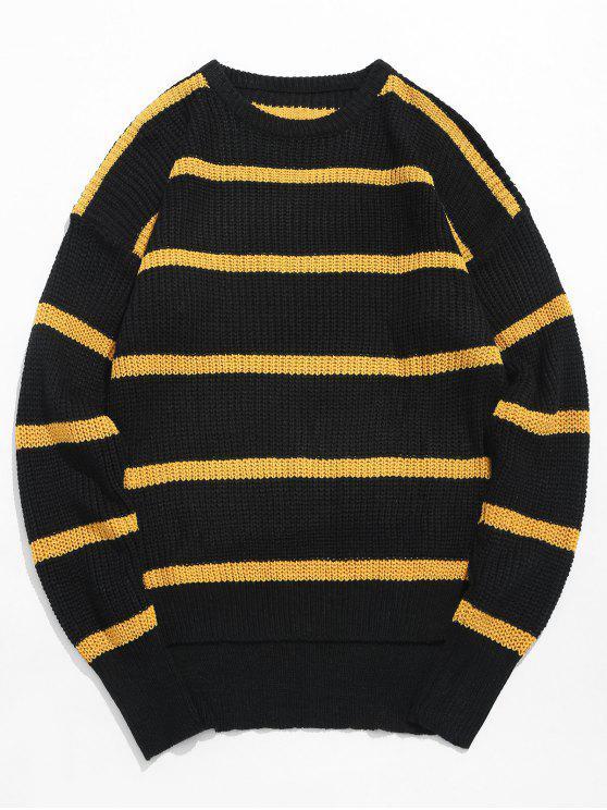 Asymmetrischer Saum Gestreifter Strickpullover - Biene Gelb M
