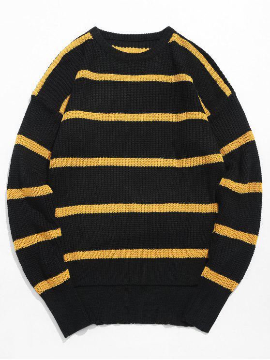 Suéter de punto de rayas asimétricas dobladillo - Amarilla de Abeja  M