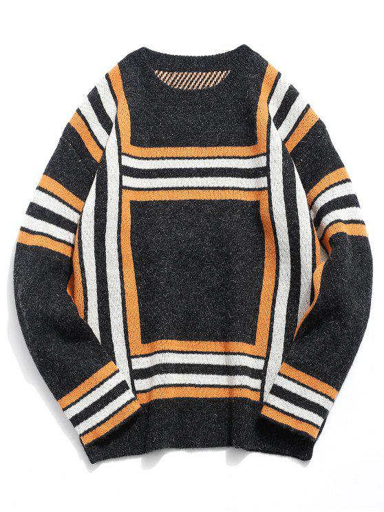 online Soft Square Knitted Sweater - BLACK L