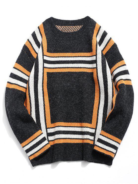 Camisola de malha quadrada macia - Preto L
