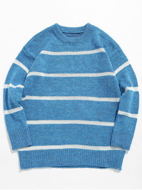 Maglione Casuale Pullover A Righe - Blu Marino  2XL