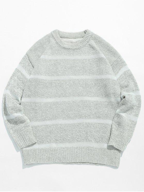 Maglione Casuale Pullover A Righe - Grigio Chiaro 3XL