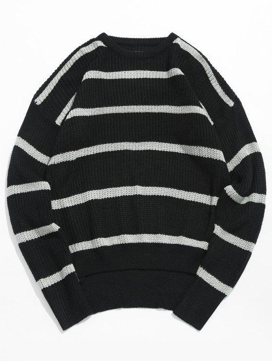 Suéter de punto de rayas asimétricas dobladillo - Negro 3XL
