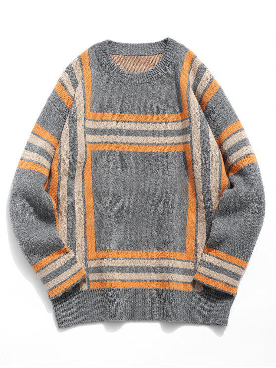 hot Soft Square Knitted Sweater - CARBON GRAY 2XL