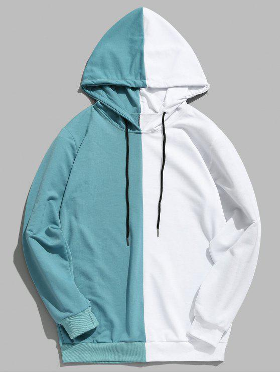 shop Contrast Patchwork Casual Hoodie - MACAW BLUE GREEN XL