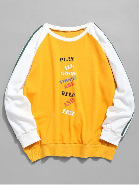 Sweat-shirt Lettre à Manches Contrastées Raglan - Jaune Clair 2XL