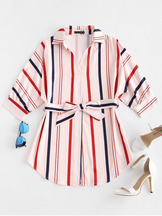 online ZAFUL Striped Belted Mini Dress - PINK M