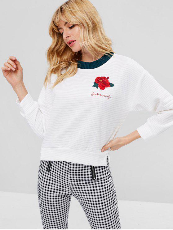 Sweat-shirt Fleur Brodée Fente Latérale à Ourlet - Blanc L