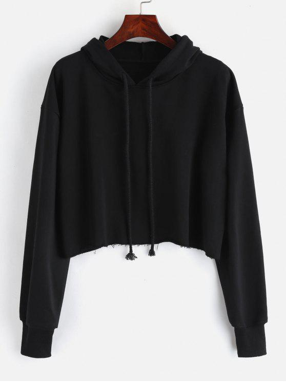 c23fd73ce6974 38% OFF  2019 Oversized Raw Cut Cropped Hoodie In BLACK