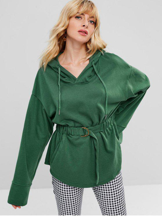 Pull-over à Capuche avec Taille Elastique - Vert M