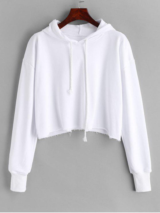 womens Oversized Raw Cut Cropped Hoodie - WHITE M