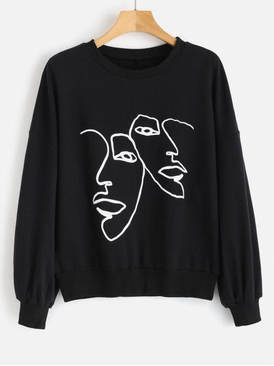 Face Graphic Sweatshirt   Black S by Zaful