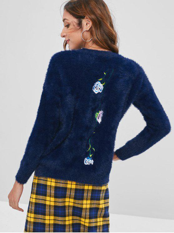 outfit Flower Embroidery Fleece Sweater - CADETBLUE ONE SIZE