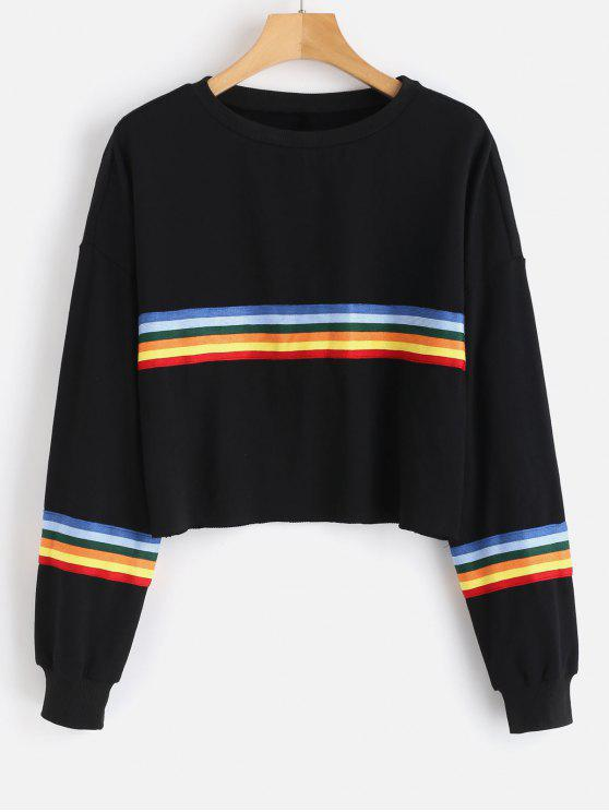 outfits Raw Hem Colorful Striped Sweatshirt - BLACK L
