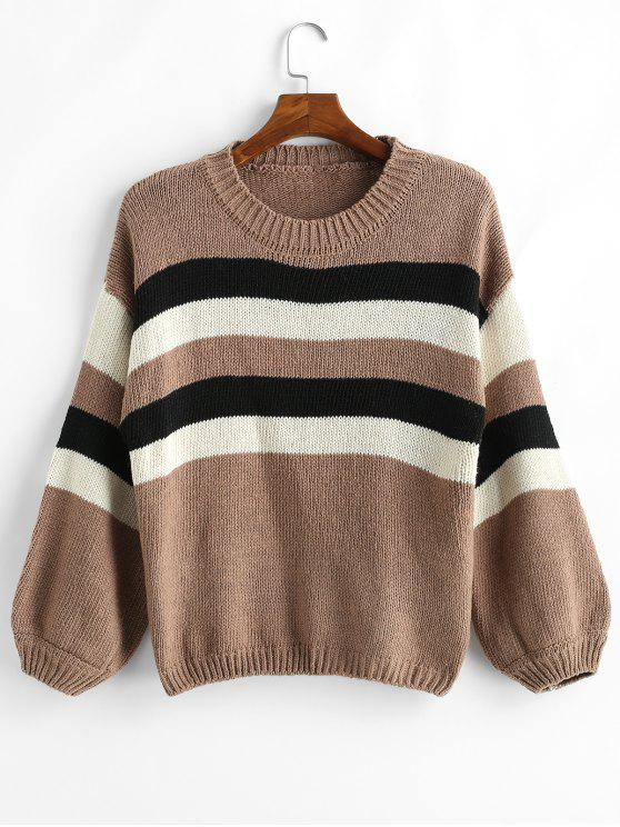 trendy Color Block Striped Balloon Sleeve Sweater - MULTI-B ONE SIZE