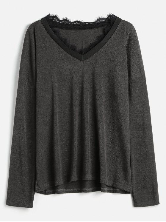 lady Lace Trim Plus Size Knitwear - SMOKEY GRAY 2X