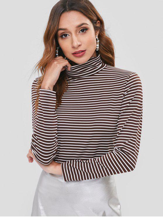 Camiseta con cuello alto y rayas finas - Multicolor Talla única